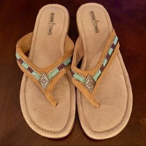 New Minnetonka beaded sandals, 9